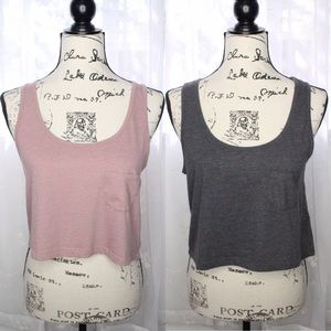 American Eagle pink & gray cropped tanks